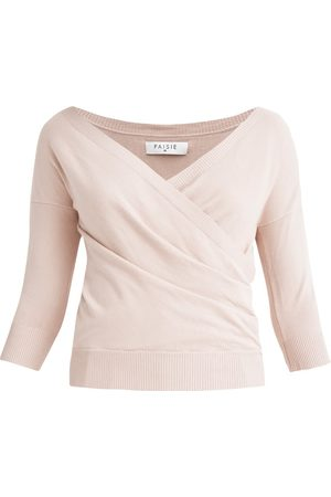 Women's Non-Toxic Dyes Blush Knitted Wrap Top With 3/4 Sleeves In Medium PAISIE
