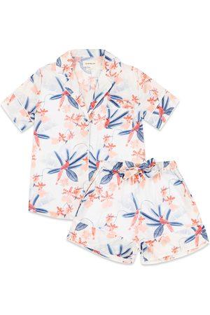 Women's Organic Blue/White/Pink Cotton Tropical Bird Short Set XS Moon + Mellow