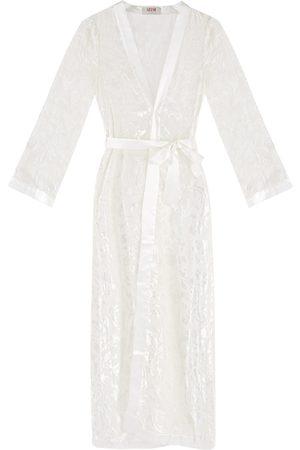 Women Bathrobes - Women's Artisanal White Silk -Blend Devorè Dressing Gown Medium Gelso Milano