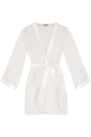 Women's Artisanal White Silk -Blend Devorè Kimono Medium Gelso Milano