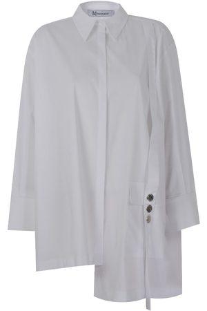 Women's Artisanal White Cotton Drip Stone Shirt Medium Mirimalist