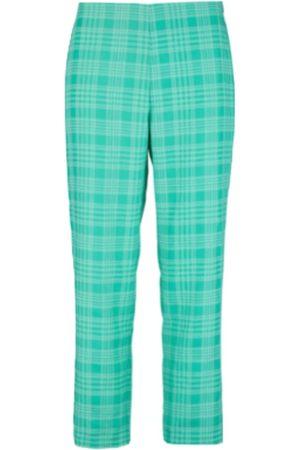 Women Capris - Women's Natural Fibres Green Fabric Capri Trouser 25in ExtraAF