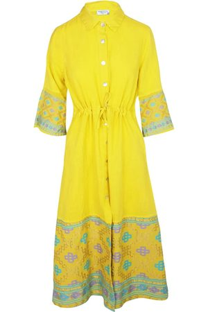 Women Maxi Dresses - Women's Recycled Yellow Cotton Split Neck Sleeveless Maxi Linen Dress With Embroidered Panels - Sunrise Large Haris Cotton