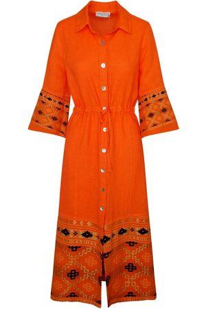 Women's Recycled mango Cotton Split Neck Sleeveless Maxi Linen Dress With Embroidered Panels XL Haris Cotton