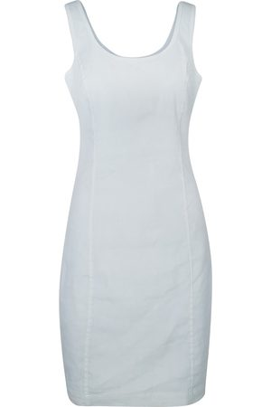 Women Casual Dresses - Women's Recycled White Cotton Sleeveless Slim Fit Jersey Linen Blend Stretch Dress Medium Haris Cotton