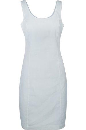 Women Casual Dresses - Women's Recycled White Cotton Sleeveless Slim Fit Jersey Linen Blend Stretch Dress XS Haris Cotton