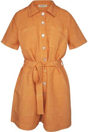 Women Jumpsuits - Women's Recycled Natural Cotton Short Sleeved Linen-Blend Jumpsuit With Front Buttons - Tan Medium Haris Cotton