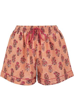 Women Pajamas - Women's Artisanal Peach Cotton Dusty Khushi Sleep Shorts Large Dilli Grey