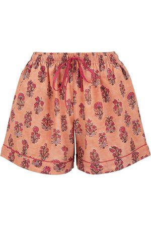 Women Pajamas - Women's Artisanal Peach Cotton Dusty Khushi Sleep Shorts Small Dilli Grey
