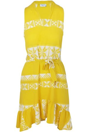 Women Sleeveless Dresses - Women's Recycled Yellow Cotton Sleeveless High-Low Embroidered Dress - Sunrise /white Large Haris Cotton