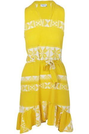 Women Sleeveless Dresses - Women's Recycled Yellow Cotton Sleeveless High-Low Embroidered Dress - Sunrise /white XL Haris Cotton