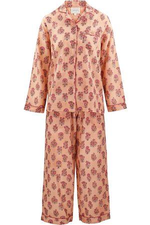 Women Long sleeves - Women's Artisanal Peach Cotton Dusty Khushi Long-Sleeve Pyjama Set Medium Dilli Grey