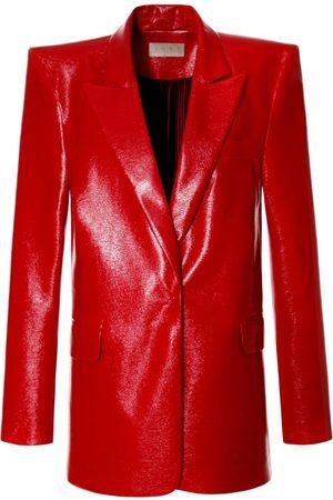Women Leather Jackets - Women's Red Leather Lennox High Risk Blazer Large Aggi