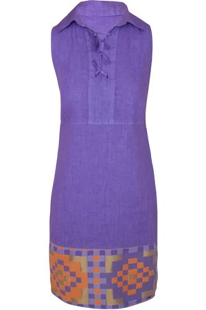 Women Party Dresses - Women's Recycled Lavender Cotton Lace Up Neck Sleeveless Mini Linen Dress With Embroidered Panels XL Haris Cotton