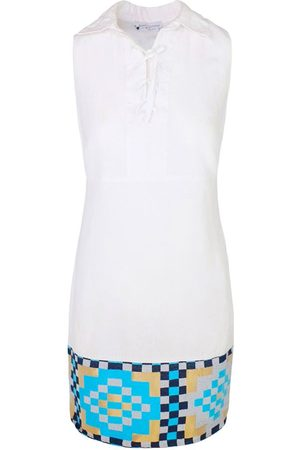 Women Party Dresses - Women's Recycled White Cotton Lace Up Neck Sleeveless Mini Linen Dress With Embroidered Panels XL Haris Cotton