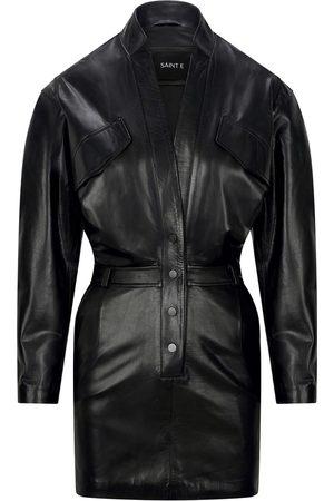 Women Long sleeves - Women's Artisanal Black Leather Long Sleeve Dress Medium SAINT E