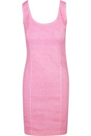 Women Casual Dresses - Women's Recycled Pink/Purple Cotton Sleeveless Slim Fit Jersey Linen Blend Stretch Dress - Hydrangea XL Haris Cotton