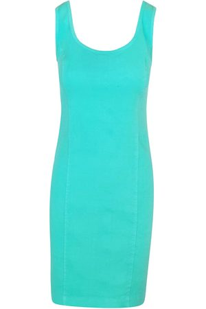 Women Casual Dresses - Women's Recycled Green Cotton Sleeveless Slim Fit Jersey Linen Blend Stretch Dress - Island Large Haris Cotton