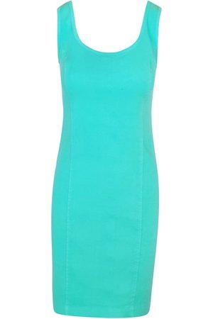 Women Casual Dresses - Women's Recycled Green Cotton Sleeveless Slim Fit Jersey Linen Blend Stretch Dress - Island Medium Haris Cotton