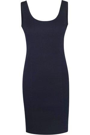 Women Casual Dresses - Women's Recycled Black Cotton Sleeveless Slim Fit Jersey Linen Blend Stretch Dress XS Haris Cotton
