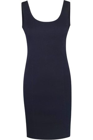 Women's Recycled Black Cotton Sleeveless Slim Fit Jersey Linen Blend Stretch Dress Large Haris Cotton