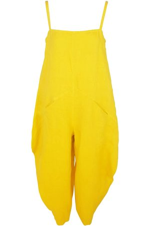 Women Jumpsuits - Women's Recycled Yellow Cotton Voluminous Linen Jumpsuit With Pockets - Sunrise Large Haris Cotton