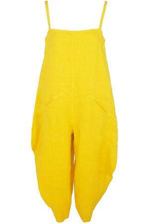 Women Jumpsuits - Women's Recycled Yellow Cotton Voluminous Linen Jumpsuit With Pockets - Sunrise XL Haris Cotton