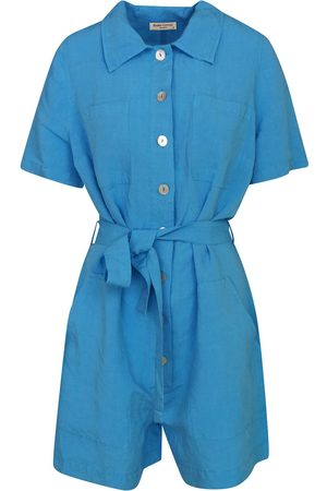 Women Jumpsuits - Women's Recycled Blue Cotton Short Sleeved Linen-Blend Jumpsuit With Front Buttons - Santorini XL Haris Cotton