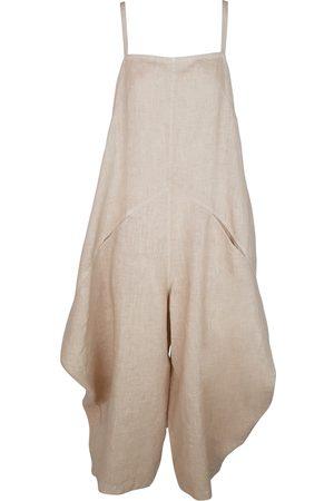 Women's Recycled Natural Cotton Voluminous Linen Jumpsuit With Pockets - Beach Sand Large Haris Cotton