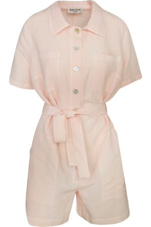 Women Jumpsuits - Women's Recycled Rose Cotton Short Sleeved Linen-Blend Jumpsuit With Front Buttons - Petal XXS Haris Cotton