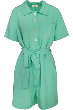 Women's Recycled Green Cotton Short Sleeved Linen-Blend Jumpsuit With Front Buttons - Island Large Haris Cotton