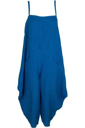 Women Jumpsuits - Women's Recycled Blue Cotton Voluminous Linen Jumpsuit With Pockets - Aegean XL Haris Cotton