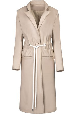 Women Trench Coats - Women's White Leather Cord Tie Trench Coat Large Hilary MacMillan