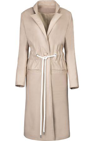 Women's White Leather Cord Tie Trench Coat Medium Hilary MacMillan