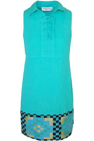 Women Party Dresses - Women's Recycled Green Cotton Lace Up Neck Sleeveless Mini Linen Dress With Embroidered Panels - Island XS Haris Cotton
