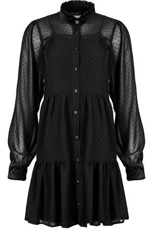 Women Casual Dresses - Women's Artisanal Black Velvet Еve Plumetis Dress Medium Denina Mártin Collection