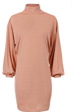 Women Casual Dresses - Women's Artisanal Golden Fabric Valerie Shiny Dress - Limited Edition XS Denina Mártin Collection