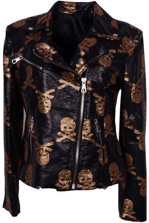 Women Leather Jackets - Women's Artisanal Black Jolly Rodgered Moto Large Any Old Iron