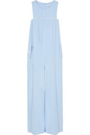 Women Jumpsuits - Women's Artisanal Blue Cotton Architectural Cut Jumpsuit Large A-line Clothing