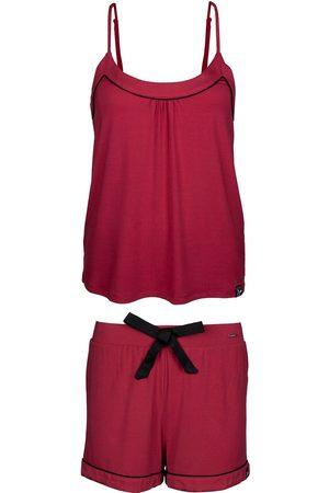 Women Pajamas - Women's Low-Impact Red Bamboo Cami & Short Pyjama Set Small Pretty You London