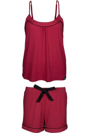 Women's Low-Impact Red Bamboo Cami & Short Pyjama Set Large Pretty You London