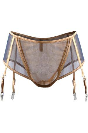 Women's Artisanal Pink/Purple Aura Suspender Panty Medium seliarichwood