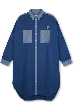 Women Casual Dresses - Women's Natural Fibres Blue Cotton Etta Oversized Shirtdress Denim Large Saywood