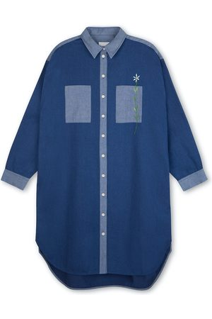 Women's Natural Fibres Blue Cotton Etta Oversized Shirtdress Denim XS Saywood