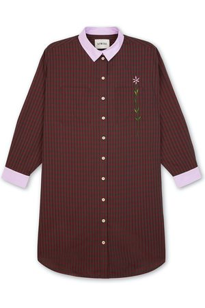 Women Casual Dresses - Women's Natural Fibres Red Cotton Etta Oversized Shirtdress Check Large Saywood
