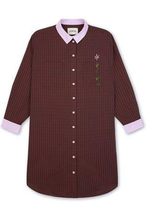 Women's Natural Fibres Red Cotton Etta Oversized Shirtdress Check Medium Saywood