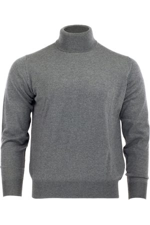 Men's Grey Wool Merino Turtleneck - Steel Gray Medium Romeo Merino