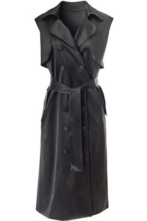 Women Sleeveless Dresses - Women's Black Fabric Sleeveless Trench Dress Small Hilary MacMillan