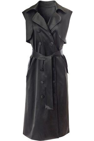 Women's Black Fabric Sleeveless Trench Dress Large Hilary MacMillan