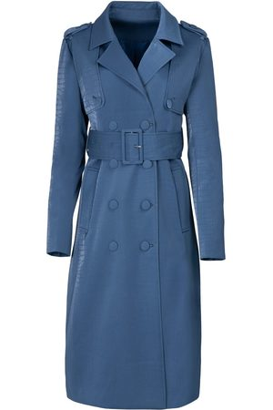 Women Trench Coats - Women's Blue Velvet The Billie Trench Large Hilary MacMillan